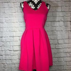 Cynthia Rowell Sleeveless Pleated Pink Dress